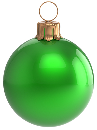 modern christmas baubles: Christmas ball New Years Eve bauble green wintertime decoration sphere hanging adornment classic. Traditional winter holidays home ornament Merry Xmas event symbol shiny blank. 3d render isolated