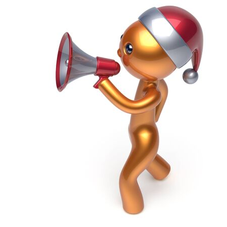 communication cartoon: Megaphone Merry Christmas character Santa Claus hat man speaking New Years Eve holiday sale news communication announcement stylized golden human cartoon speaker person Xmas figure 3d render isolated