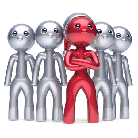 merrychristmas: Team leader Santa Claus hat boss character successful Christmas New Years Eve stylized red men individuality leadership cartoon guys success collaboration business teamwork concept 3d render isolated