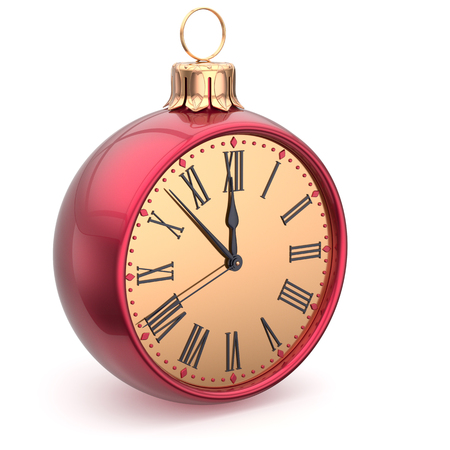 midnight hour: Happy New Year time Christmas ball midnight clock decoration bauble countdown ornament red sparkly. Traditional wintertime holidays beginning future hour symbol adornment. 3d render isolated Stock Photo