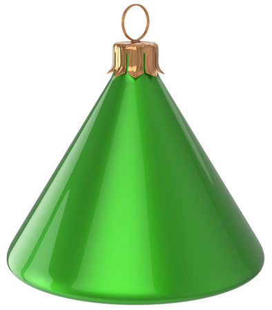 adornment: Christmas ball cone geometric New Years Eve unusual bauble green decoration hanging adornment. Traditional wintertime holidays home ornament Merry Xmas event symbol shiny blank. 3d render isolated Stock Photo