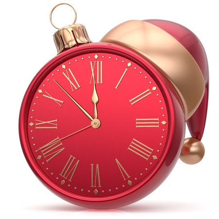 midnight hour: New Years Eve clock bauble Santa hat Christmas ball decoration ornament red sparkly. Traditional wintertime holidays midnight hour countdown beginning time future symbol adornment. 3d render isolated
