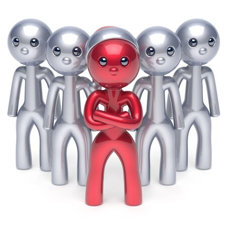 red hat: Team leader boss character Santa Claus hat successful Christmas New Years Eve stylized red men individuality leadership cartoon guys success collaboration business teamwork concept 3d render isolated
