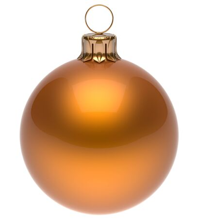 christmasball: Christmas ball orange New Years Eve bauble wintertime decoration glossy sphere hanging adornment classic. Traditional winter ornament happy holidays Merry Xmas symbol blank round. 3d render isolated Stock Photo