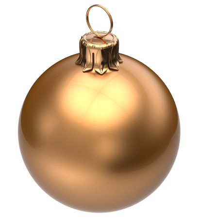 christmasball: Christmas ball golden New Years Eve bauble wintertime decoration glossy sphere hanging adornment classic. Traditional winter happy holidays ornament Merry Xmas symbol blank round. 3d render isolated