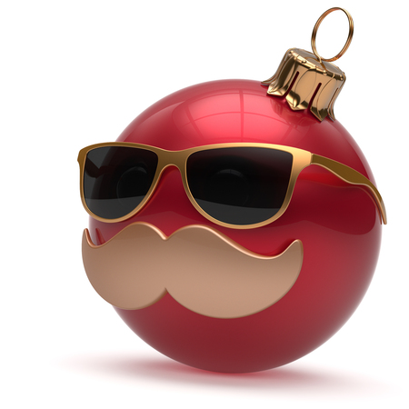 adornment: Christmas ball emoticon Happy New Years Eve bauble ornament cartoon mustache face decoration cute red. Merry Xmas funny glasses person laughing character toy souvenir adornment concept. 3d render