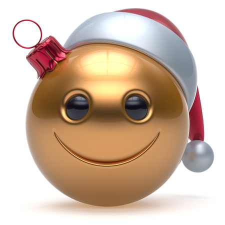 christmasball: Smiley face Christmas ball emoticon Happy New Years Eve bauble cartoon decoration cute golden. Merry Xmas cheerful funny smile Santa hat joyful person laughing joy character toy adornment. 3d render