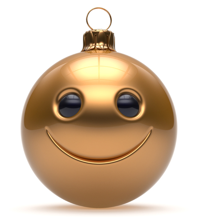 adornment: Smiley face Christmas ball emoticon Happy New Years Eve cartoon bauble cute decoration gold. Merry Xmas cheerful funny smile person character toy laughing joyful adornment souvenir concept. 3d render Stock Photo