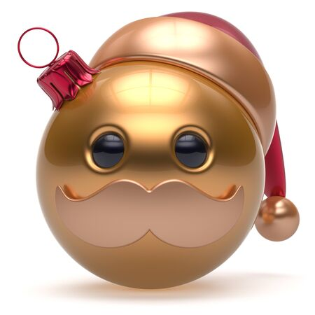 Christmas ball emoticon Happy New Years Eve bauble Santa Claus hat cartoon mustache face decoration cute golden. Merry Xmas cheerful funny person laughing character toy souvenir adornment. 3d render