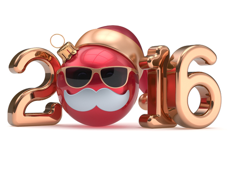 christmas baubles: New 2016 Year calendar date emoticon Christmas ball bauble happy Santa Claus hat cartoon mustache face decoration cute red gold. Merry Xmas funny glasses person character souvenir adornment. 3d render Stock Photo