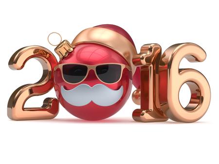 pelota caricatura: Nuevo 2016 Año fecha del calendario emoticon bola chuchería de Navidad feliz bigote de dibujos animados sombrero de Santa Claus cara decoración de oro rojo lindo. Feliz Navidad cristales divertido personaje persona adorno de recuerdo. 3d Foto de archivo