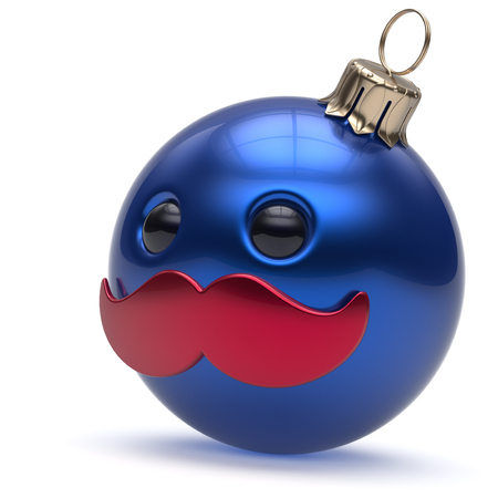 happy person: Christmas ball emoticon Happy New Years Eve bauble ornament cartoon mustache face decoration cute blue. Merry Xmas cheerful funny person laughing character toy souvenir adornment concept. 3d render
