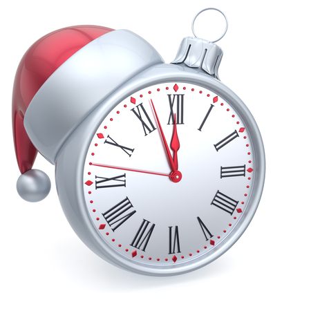 adornment: Christmas ball alarm clock New Years Eve time Santa hat decoration bauble ornament white red. Traditional wintertime holidays midnight countdown beginning future symbol adornment. 3d render isolated Stock Photo