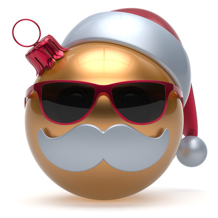 comic characters: Christmas ball emoticon Happy New Years Eve bauble Santa Claus hat cartoon mustache face decoration cute golden. Merry Xmas cheerful funny glasses person laughing character toy adornment. 3d render