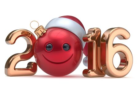 christmasball: Happy 2016 New Years Eve calendar date Smiley face emoticon bauble Christmas ball cartoon decoration red golden. Merry Xmas cheerful funny smile Santa hat joyful person laughing character. 3d render