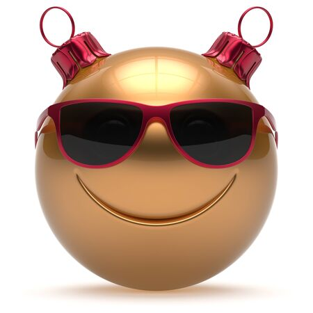christmasball: Christmas ball smiley face Happy New Years Eve emoticon bauble cartoon cute decoration gold. Merry Xmas funny glasses smile person character toy laughing joyful adornment souvenir concept. 3d render
