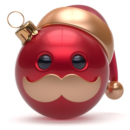 christmasball: Christmas ball emoticon Happy New Years Eve bauble Santa Claus hat cartoon mustache face decoration cute red. Merry Xmas cheerful funny person laughing character toy souvenir adornment. 3d render