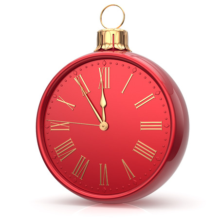 midnight hour: New Years Eve time alarm clock bauble Christmas ball midnight hour decoration future countdown ornament red shiny. Traditional happy wintertime holidays beginning symbol adornment. 3d render isolated