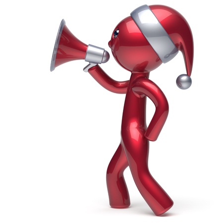 communication cartoon: Character speaking megaphone Merry Christmas Santa Claus hat man New Years Eve holiday sale news communication announcement stylized red human cartoon guy speaker person Xmas figure 3d render isolated Stock Photo