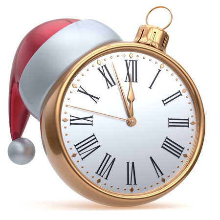 midnight hour: New Years Eve time alarm clock midnight hour countdown Santa hat Christmas ball decoration bauble ornament golden. Traditional wintertime happy holidays beginning future symbol adornment. 3d render Stock Photo