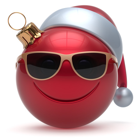 cartoon hat: Christmas ball smiley face emoticon Happy New Years Eve bauble cartoon decoration cute red. Merry Xmas cheerful funny smile Santa hat glasses person laughing joy character toy adornment. 3d render
