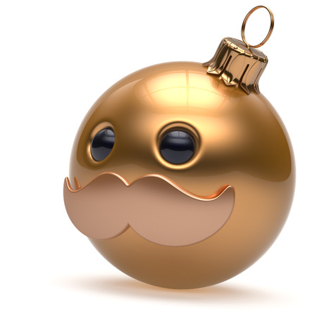 christmasball: Christmas ball emoticon Happy New Years Eve bauble ornament cartoon mustache face decoration cute golden. Merry Xmas cheerful funny person laughing character toy souvenir adornment concept. 3d render Stock Photo