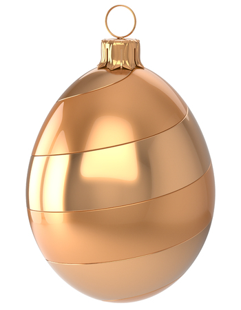 christmasball: Christmas ball egg New Years Eve bauble wintertime decoration glossy golden hanging adornment luxury. Traditional winter happy holidays ornament Merry Xmas symbol blank. 3d render isolated