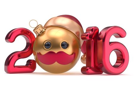 christmasball: New Years Eve 2016 date Christmas ball emoticon bauble Santa Claus hat cartoon mustache face decoration red gold. Happy Merry Xmas cheerful funny person character toy souvenir adornment. 3d render