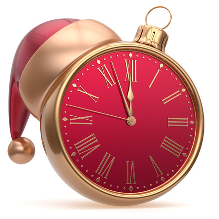 adornment: New Years Eve alarm clock bauble Christmas ball decoration Santa hat ornament red golden. Traditional wintertime future midnight countdown beginning holidays time symbol adornment. 3d render isolated