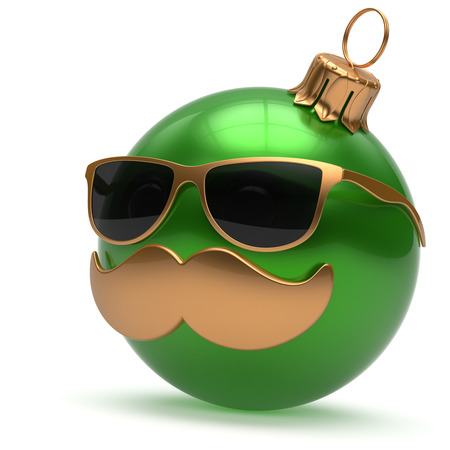 adornment: Christmas ball emoticon Happy New Years Eve bauble ornament cartoon mustache face decoration cute green. Merry Xmas funny glasses person laughing character toy souvenir adornment concept. 3d render Stock Photo
