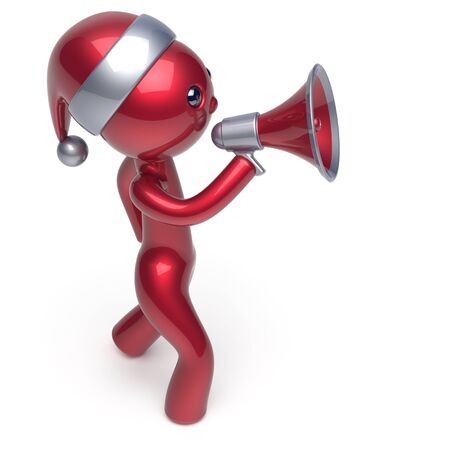 communication cartoon: New Years Eve man speaking megaphone announcement Santa Claus hat character Merry Christmas holiday sale news communication stylized red human cartoon guy speaker person Xmas figure 3d render isolated
