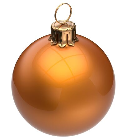 adornment: Christmas ball orange New Years Eve bauble wintertime decoration glossy sphere hanging adornment classic. Traditional winter happy holidays ornament Merry Xmas symbol blank round. 3d render isolated
