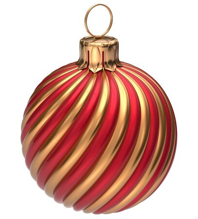 christmasball: Christmas ball New Years Eve bauble decoration golden red twisted lines wintertime hanging adornment classic. Traditional happy winter holidays ornament Merry Xmas event symbol glossy blank 3d render Stock Photo