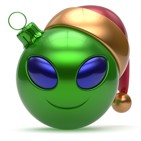 green face: Christmas ball Happy New Years Eve bauble smiley alien face cartoon cute emoticon decoration green. Merry Xmas cheerful funny smile Santa hat person character toy laughing eye joy adornment 3d render