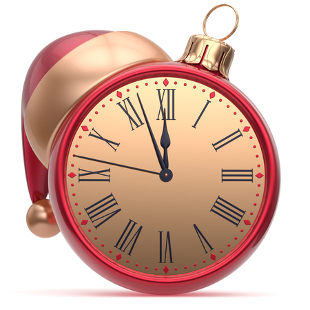 midnight hour: New Years Eve alarm clock Christmas ball Santa hat decoration bauble ornament red golden. Traditional wintertime holidays midnight hour countdown beginning time future symbol adornment. 3d render Stock Photo