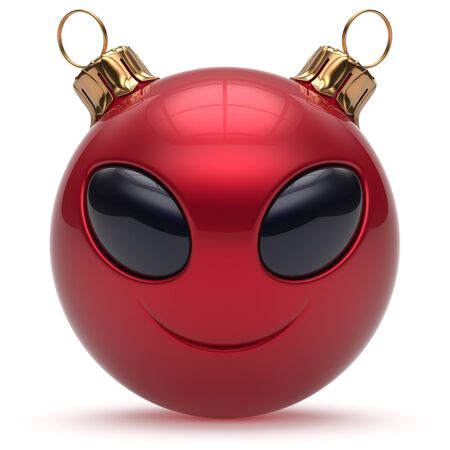 adornment: Christmas ball smiley alien face Happy New Years Eve bauble cartoon cute emoticon decoration red. Merry Xmas cheerful funny smile person character toy laughing eyes joy adornment concept. 3d render
