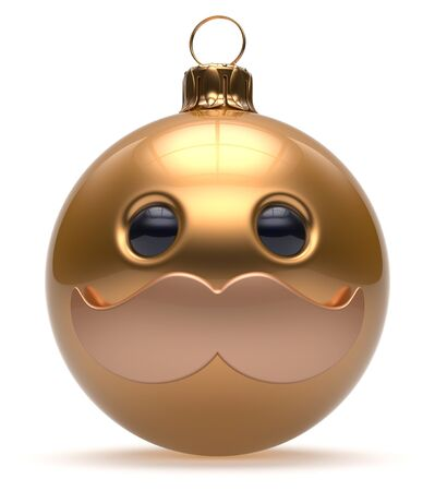 Christmas ball emoticon smiley mustache face New Years Eve cartoon bauble cute decoration gold. Happy Merry Xmas cheerful funny person character laughing joyful adornment souvenir concept. 3d render