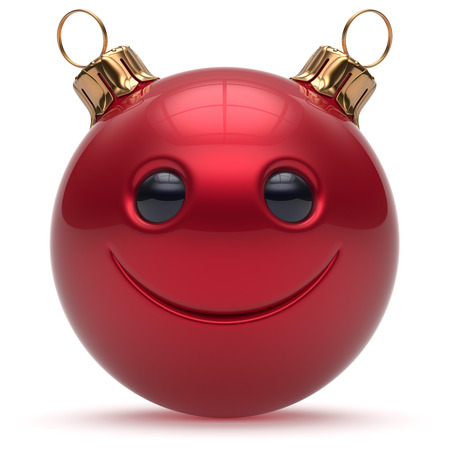 adornment: Christmas ball smiley face Happy New Years Eve emoticon bauble cartoon cute decoration red. Merry Xmas cheerful funny smile person character toy laughing joyful adornment souvenir concept. 3d render