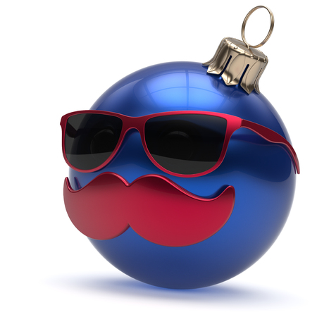 adornment: Christmas ball emoticon Happy New Years Eve bauble ornament cartoon mustache face decoration cute blue. Merry Xmas funny glasses person laughing character toy souvenir adornment concept. 3d render