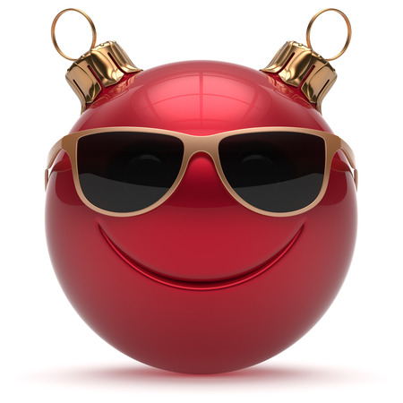 adornment: Christmas ball smiley face Happy New Years Eve emoticon bauble cartoon cute decoration red. Merry Xmas funny glasses smile person character toy laughing joyful adornment souvenir concept. 3d render