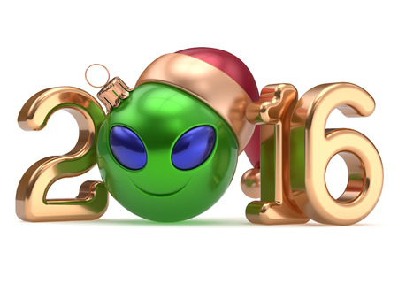 christmasball: New Years Eve 2016 calendar date smiley alien face cartoon decoration Christmas ball bauble emoticon green gold. Merry Xmas cheerful smile Santa hat ufo person character laughing adornment 3d render