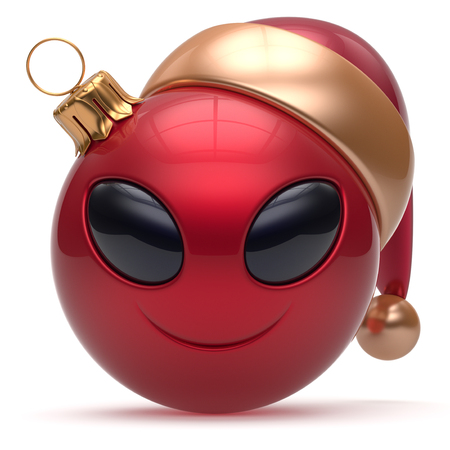 adornment: Christmas ball Happy New Years Eve bauble smiley alien face cartoon cute emoticon decoration red. Merry Xmas cheerful funny smile Santa hat person character toy laughing eyes joy adornment 3d render