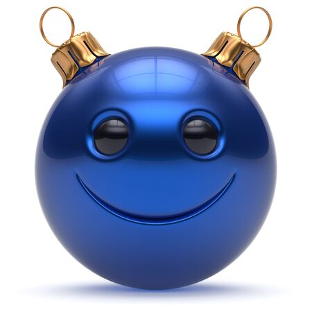 ball: Christmas ball smiley face Happy New Years Eve emoticon bauble cartoon cute decoration blue. Merry Xmas cheerful funny smile person character toy laughing joyful adornment souvenir concept. 3d render
