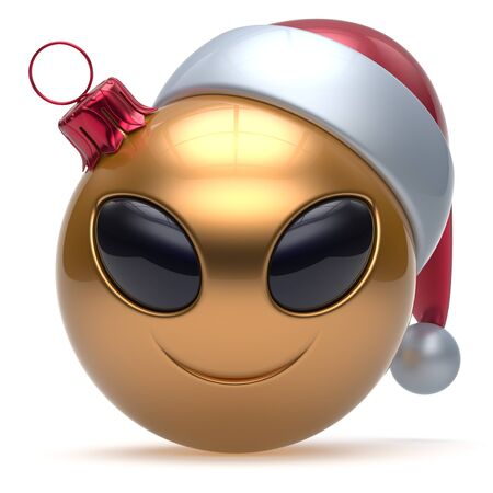 Christmas ball Happy New Years Eve bauble smiley alien face cartoon cute emoticon decoration gold. Merry Xmas cheerful funny smile Santa hat person character toy laughing eyes joy adornment 3d render