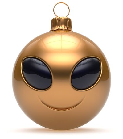 christmasball: Smiley alien face Christmas ball Happy New Years Eve bauble cartoon cute emoticon decoration gold. Merry Xmas cheerful funny smile person character toy laughing eyes joy adornment concept. 3d render Stock Photo