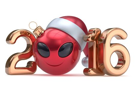adornment: New Years Eve 2016 calendar date smiley alien face cartoon decoration Christmas ball bauble emoticon red golden. Merry Xmas cheerful smile Santa hat ufo person character laughing adornment 3d render