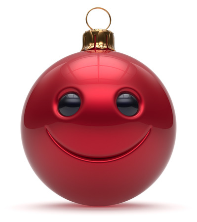 adornment: Smiley face Christmas ball emoticon Happy New Years Eve cartoon bauble cute decoration red. Merry Xmas cheerful funny smile person character toy laughing joyful adornment souvenir concept. 3d render Stock Photo