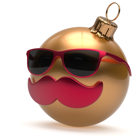 christmasball: Christmas ball emoticon Happy New Years Eve bauble ornament cartoon mustache face decoration cute golden. Merry Xmas funny glasses person laughing character toy souvenir adornment concept. 3d render Stock Photo
