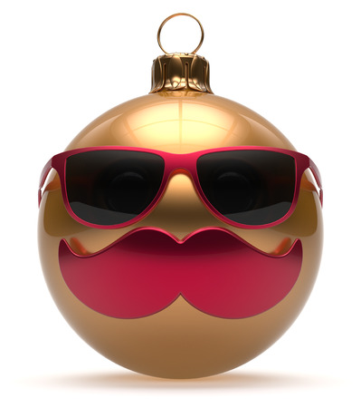 funny glasses: Christmas ball emoticon smiley mustache face New Years Eve cartoon bauble cute decoration golden. Happy Merry Xmas funny glasses person character laughing joyful adornment souvenir concept. 3d render Stock Photo