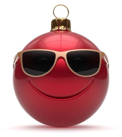adornment: Smiley face Christmas ball emoticon Happy New Years Eve bauble cartoon cute decoration red. Merry Xmas funny glasses smile person character toy laughing joyful adornment souvenir concept. 3d render